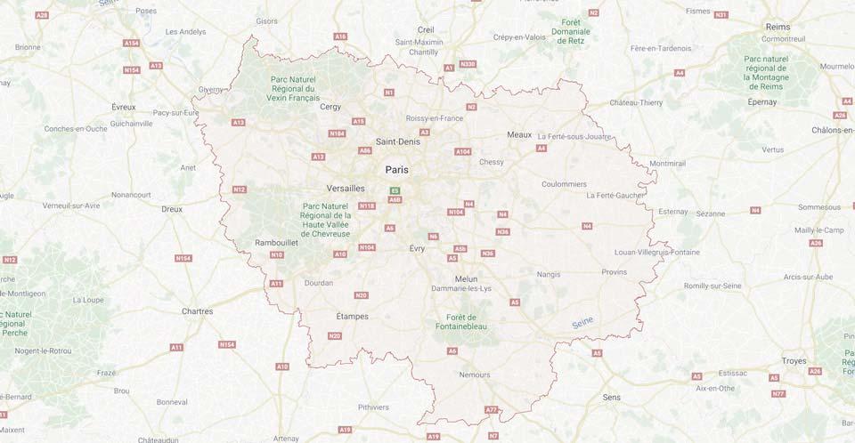 Zone d'interntion, Toute l'ile de France